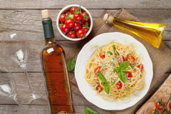 Spaghetti pasta and and white wine Royalty Free Stock Photography