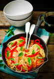 Spaghetti with pepper and ham Royalty Free Stock Image