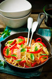 Spaghetti with pepper and ham Royalty Free Stock Photography