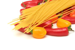 Spaghetti and peppers Stock Photography
