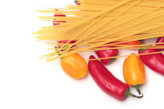 Spaghetti and peppers Royalty Free Stock Photography