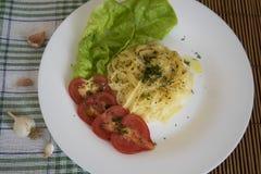 Spaghetti per la cena Fotografia Stock