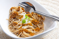Spaghetti with pesto Stock Photos