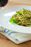 Spaghetti with pesto Stock Photography
