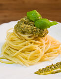 Spaghetti with pesto. Royalty Free Stock Images