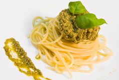 Spaghetti with pesto. Stock Photo