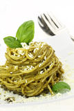 Spaghetti with pesto Royalty Free Stock Photos