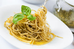 Spaghetti With Pesto Alla Genovese Royalty Free Stock Images