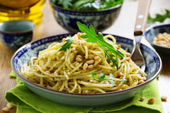 Spaghetti with pesto of arugula Royalty Free Stock Photos