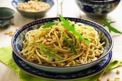 Spaghetti with pesto of arugula Stock Photography