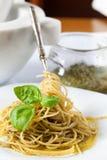 Spaghetti With Pesto And Basil Royalty Free Stock Photo
