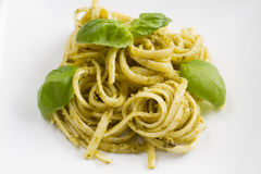 Spaghetti with Pesto and Basil Stock Images