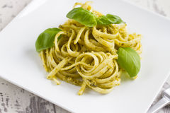 Spaghetti with Pesto and Basil Stock Image