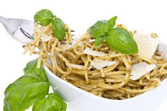 Spaghetti with pesto (clipping paths) Stock Images
