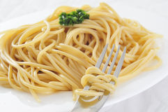 Spaghetti with pesto Stock Photo