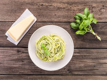 Spaghetti with pesto Royalty Free Stock Photography