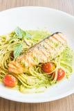 Spaghetti pesto salmon Royalty Free Stock Image
