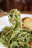 Spaghetti with pesto sauce Royalty Free Stock Photo