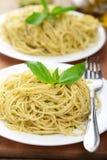 Spaghetti with pesto sauce Royalty Free Stock Photos