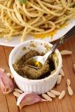 Spaghetti with pesto sauce Stock Photography