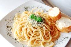 Spaghetti with pesto sauce Stock Image