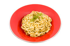 Spaghetti with pesto sauce and cheese Stock Photography