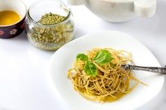 Spaghetti With Pesto Sauce Stock Images