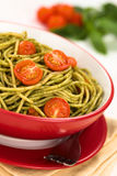 Spaghetti with Pesto and Tomato Royalty Free Stock Photo