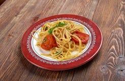 Spaghetti Piccanti al Pomodoro Fresco. Close up Royalty Free Stock Photography