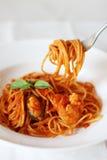 Spaghetti piccanti dei frutti di mare immagini stock