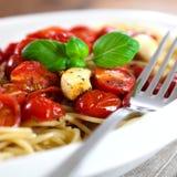 spaghetti piec pomidory Obraz Royalty Free