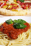 Spaghetti and pizza Royalty Free Stock Photography