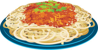 Spaghetti in a plate. Spaghetti with tomato sauce and seasoning Royalty Free Stock Photos