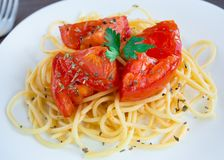 Spaghetti on a plate Royalty Free Stock Photography
