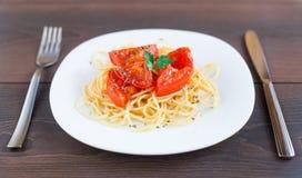 Spaghetti on a plate Stock Image