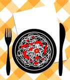 Spaghetti on plate, knife & fork Royalty Free Stock Photos