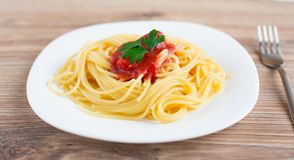 Spaghetti on a plate Stock Image