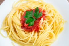 Spaghetti on a plate Stock Images