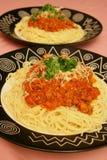 Spaghetti plates stock photo