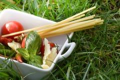 Spaghetti, pomodori, basilico e peperoncini Immagine Stock Libera da Diritti