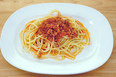 Spaghetti with pork Stock Images