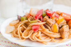 Spaghetti. Pork with capsicum on the white plate Stock Images