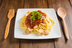 Spaghetti with pork sausage and tomato sauce Royalty Free Stock Photo