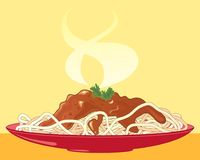Spaghetti posiłek z meaty kumberlandem i garnirunek na żółtym tle ilustracja wektor