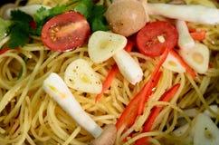 Spaghetti pranzanti fini Fotografia Stock Libera da Diritti