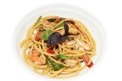 Spaghetti with prawn Royalty Free Stock Images