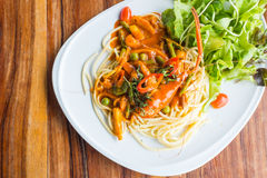 Spaghetti with prawn panag sauce Stock Images