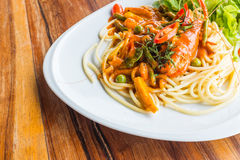 Spaghetti with prawn panag sauce Royalty Free Stock Photos