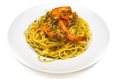 Spaghetti and Prawn Royalty Free Stock Photography