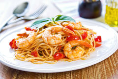 Spaghetti with prawn and tomato Stock Photography